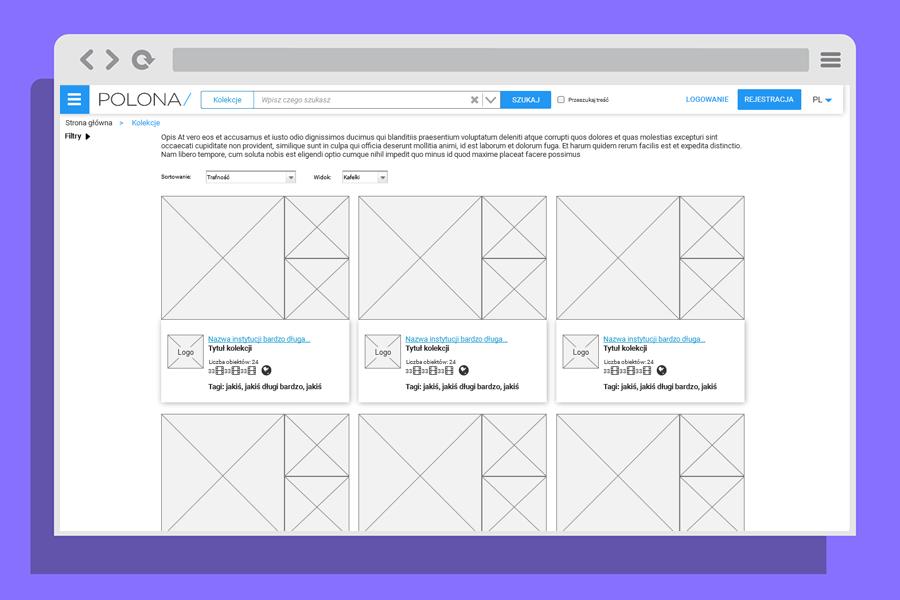 Wireframes of Polona's new website - screen