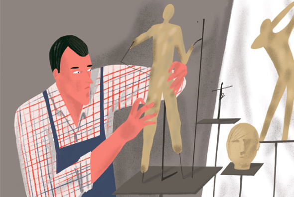 Illustration for the article - some abstract visualisation of a man creating a prototype