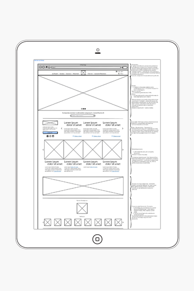 Wireframe of the JP2 website