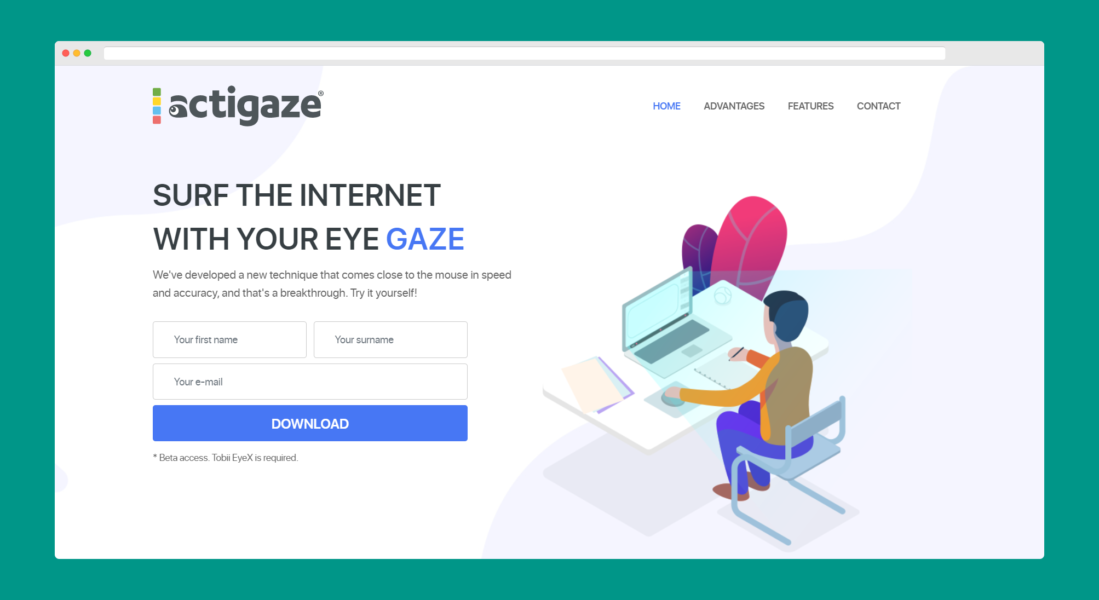Actigaze website screen