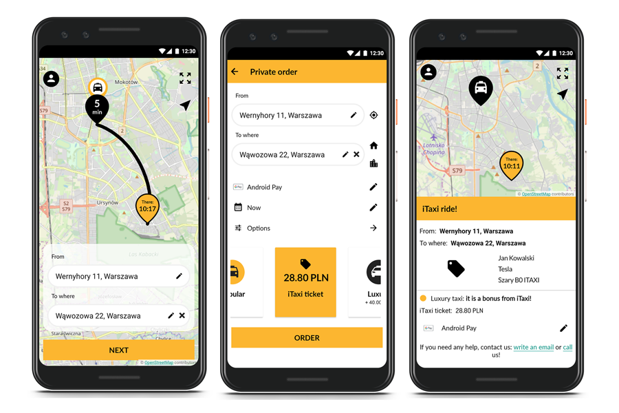 Screens from the mobile app - showing how to order a taxi